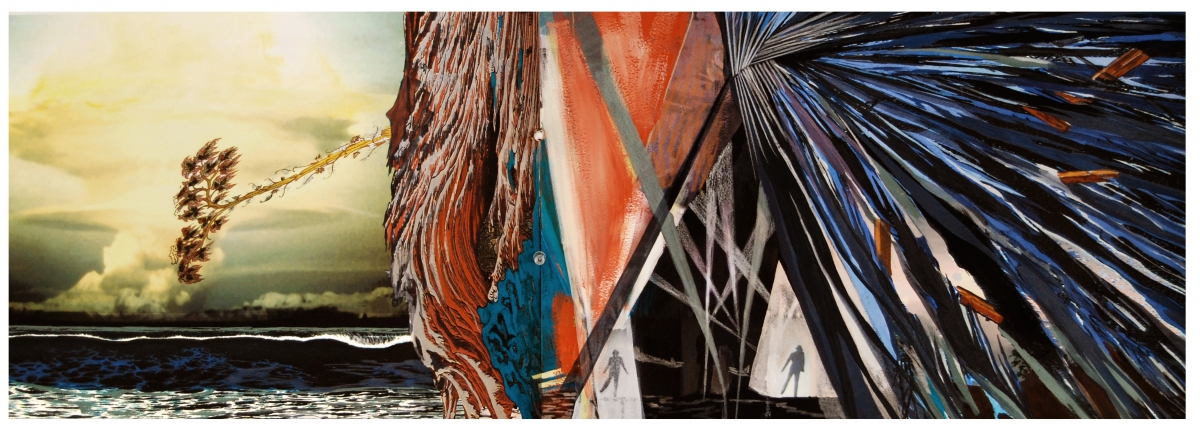 """Redoubt, gouache, pigmented print, mixed media on paper, 13 x 30"""""""