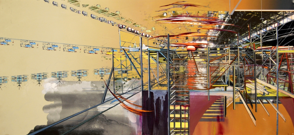 """Rafters, gouache, pigmented print, mixed media on paper, 13 x 30"""""""