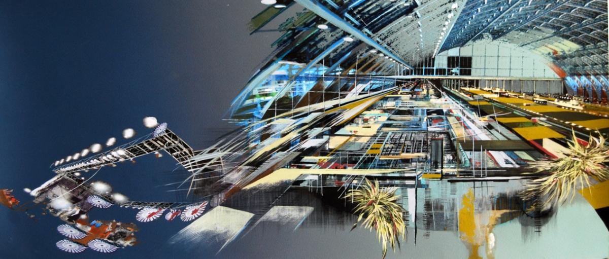 "Conveyor, gouache, pigmented print, mixed media on paper, 13 x 30"""