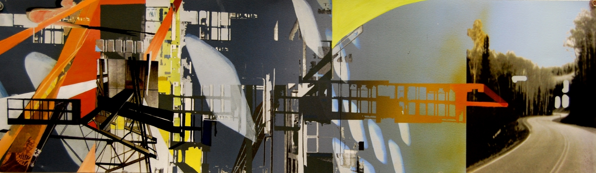 """Bend, gouache, pigmented print, mixed media on paper, 13 x 60"""""""