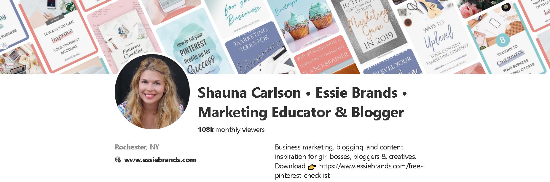 Shauna Carlson of Essie Brands Pinterest Profile Screenshot