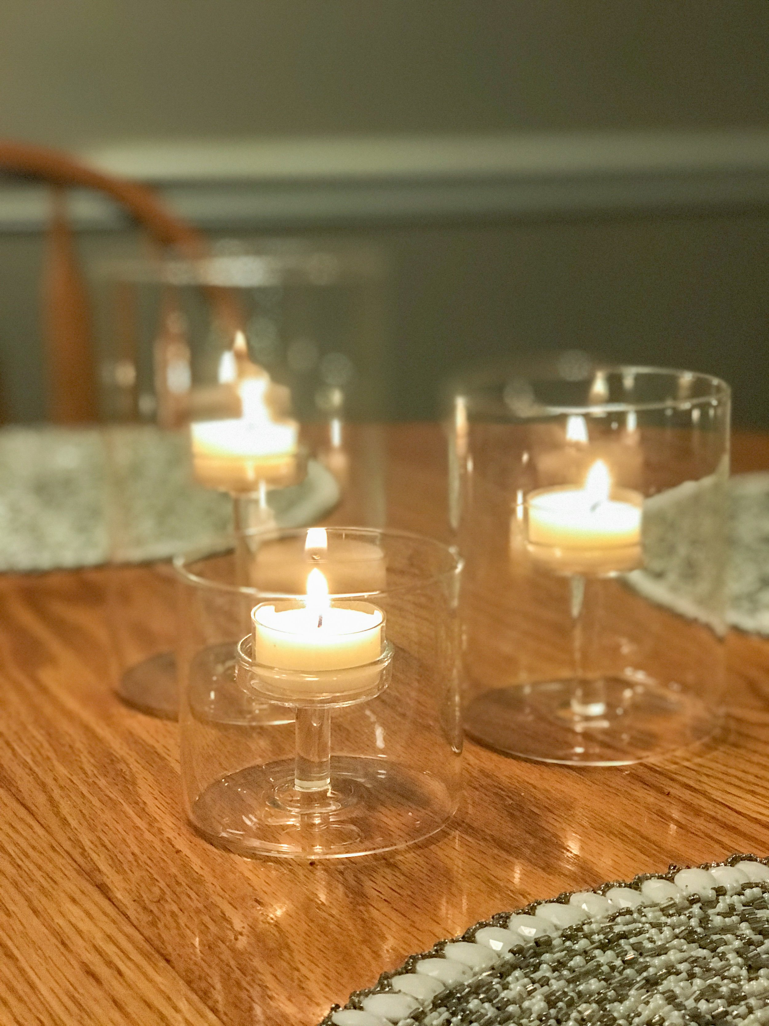 Mack and I try to eat dinner together every night at the table with tea light candles lit. It's such a nice way to catch up about our days and have nice conversations together. These tea light candle holders are so elegant and modern looking and I just LOVE the way they look on my dining room table!