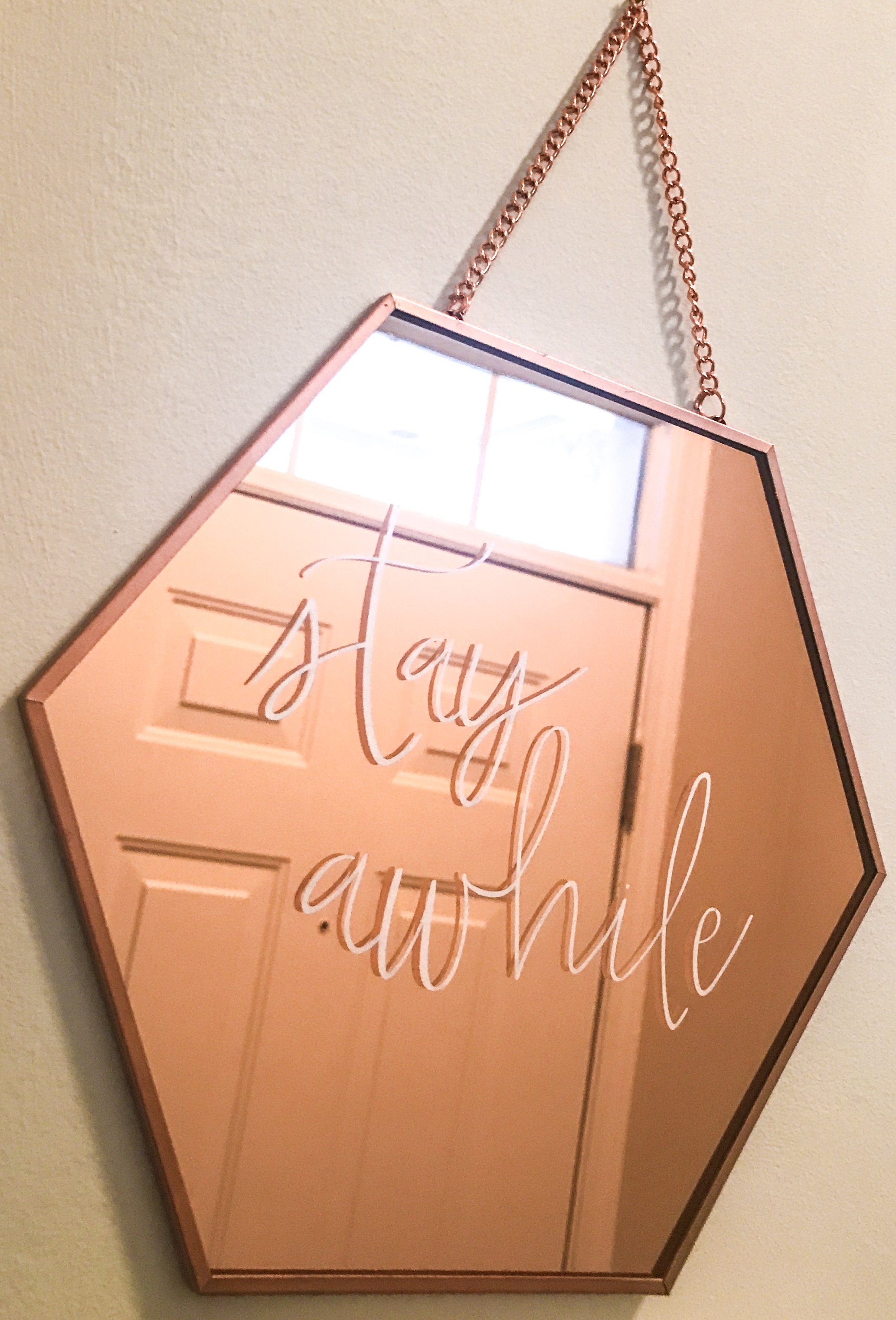 Picked this sweet rose gold mirror wall decoration up from the dollar section in Target for only $3! I have it in my entry way and I get compliments on it every time we have guests!