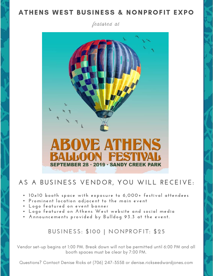 Businesses and nonprofits interested in a booth can request more information by  e-mailing  or  texting/calling  Athens West Business Leaders or downloading the  vendor application.