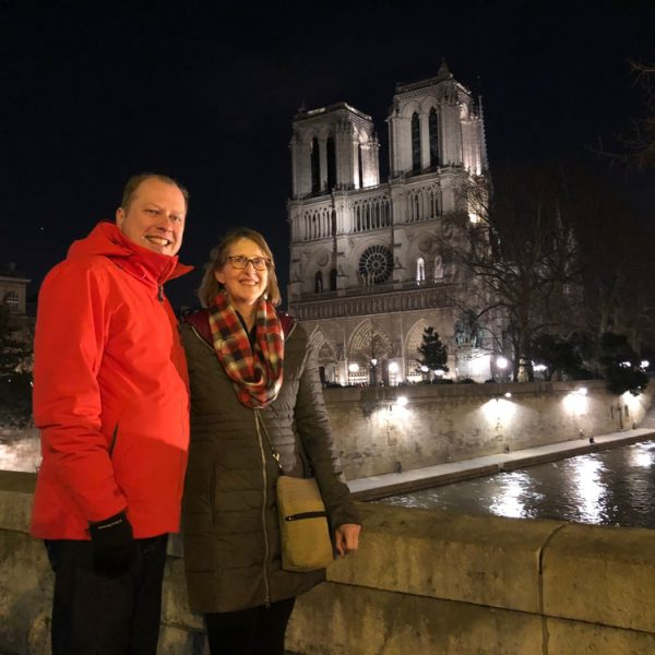 A brisk evening in Paris outside of Notre Dame