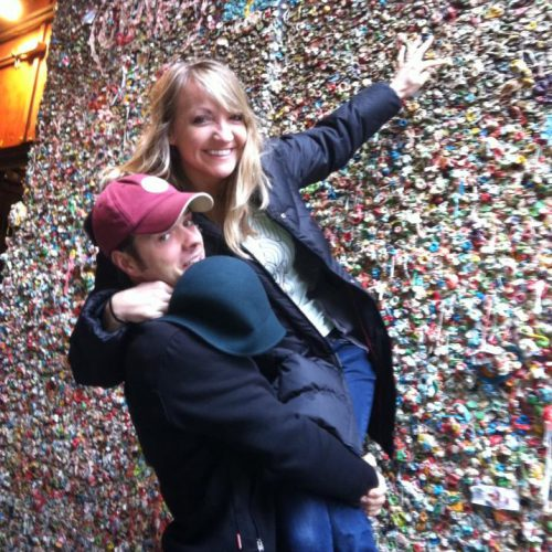 Checking out the famous chewing gum wall in Seattle