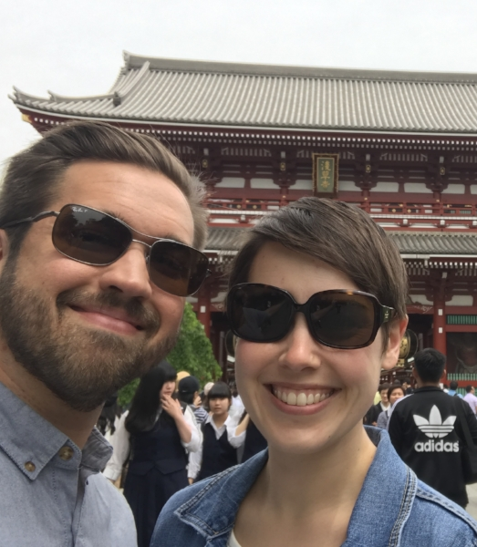 We love to travel and experience new cultures! Here is a picture of us exploring Japan.