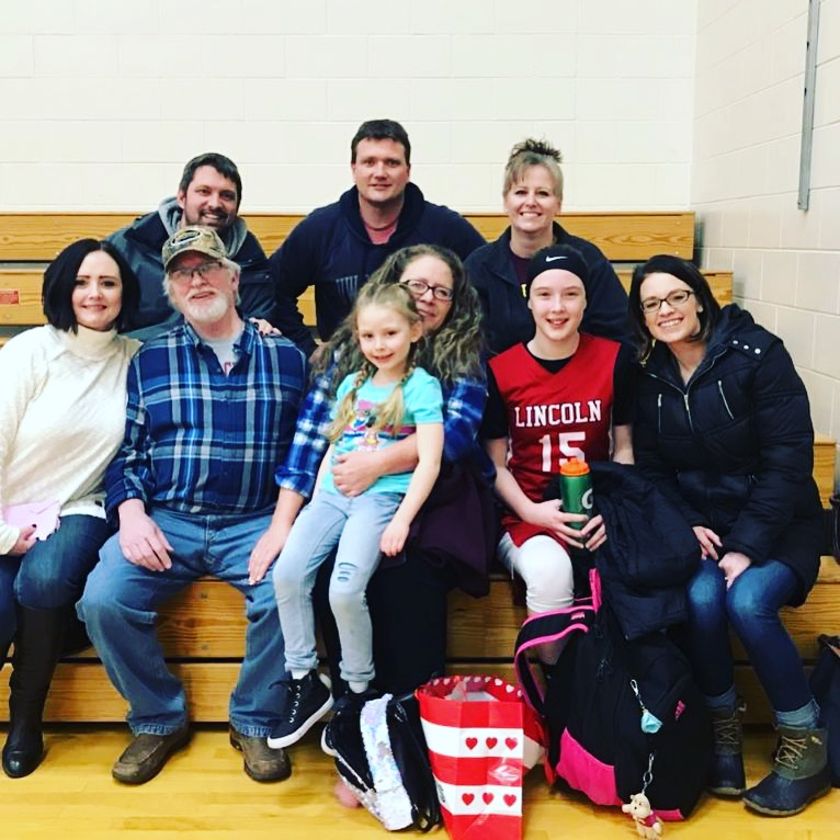 jess' family after her niece's basketball game