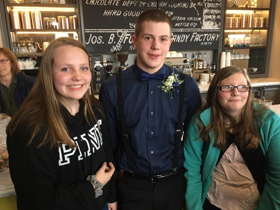 Growing up so fast! Sibling photo at Andrew's Sophomore Prom in La Crosse, WI