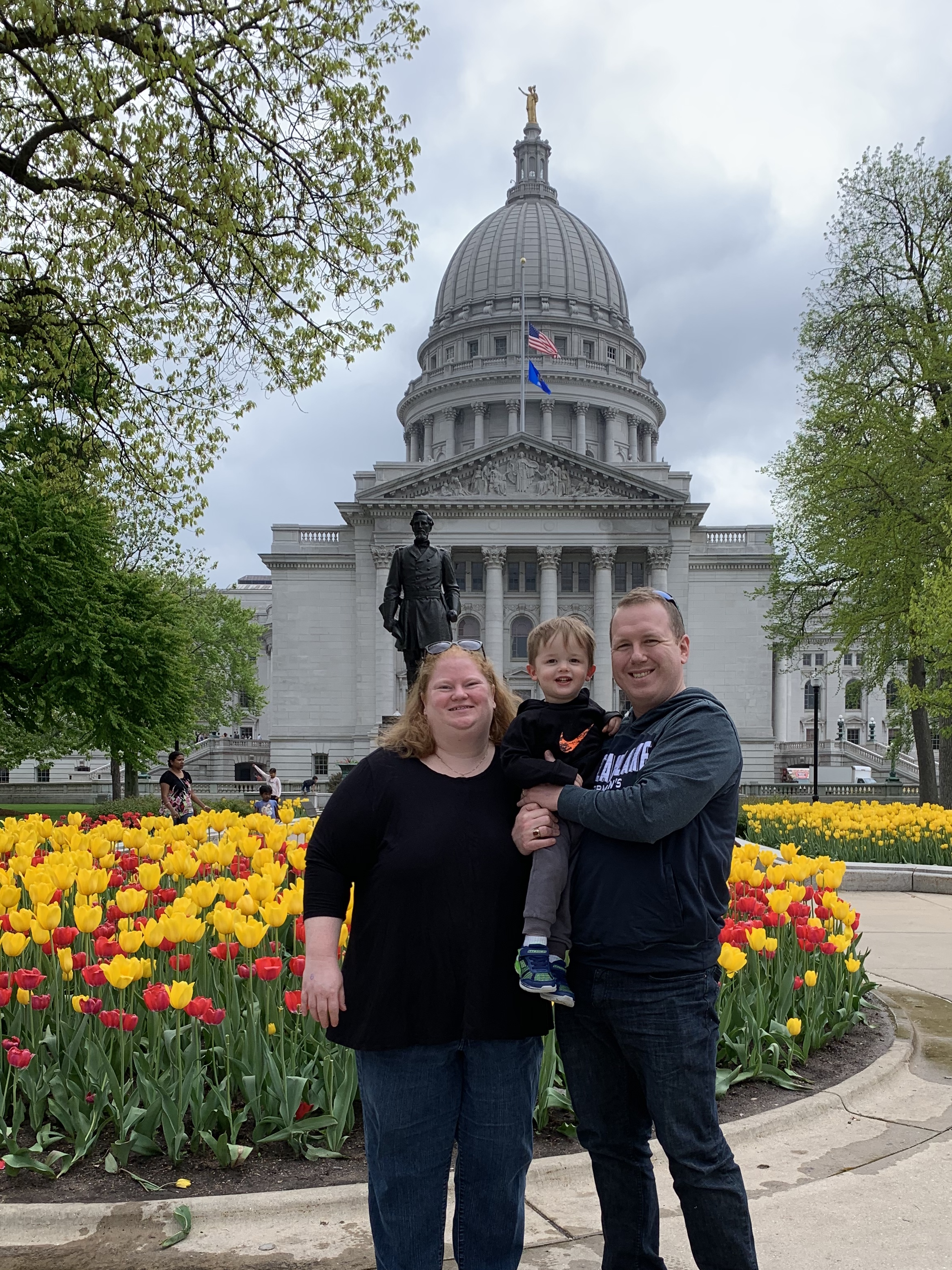 Enjoying the tulips at the Capitol