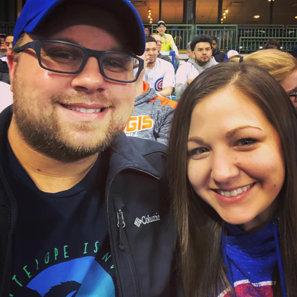 Cheering on the Cubs at Miller Park