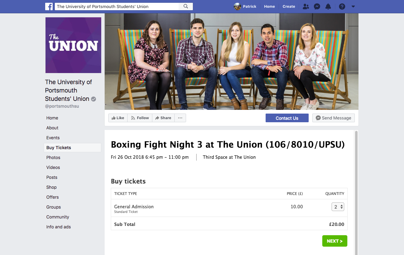 UPSU FACEBOOK PAGE TICKETING WIDGET