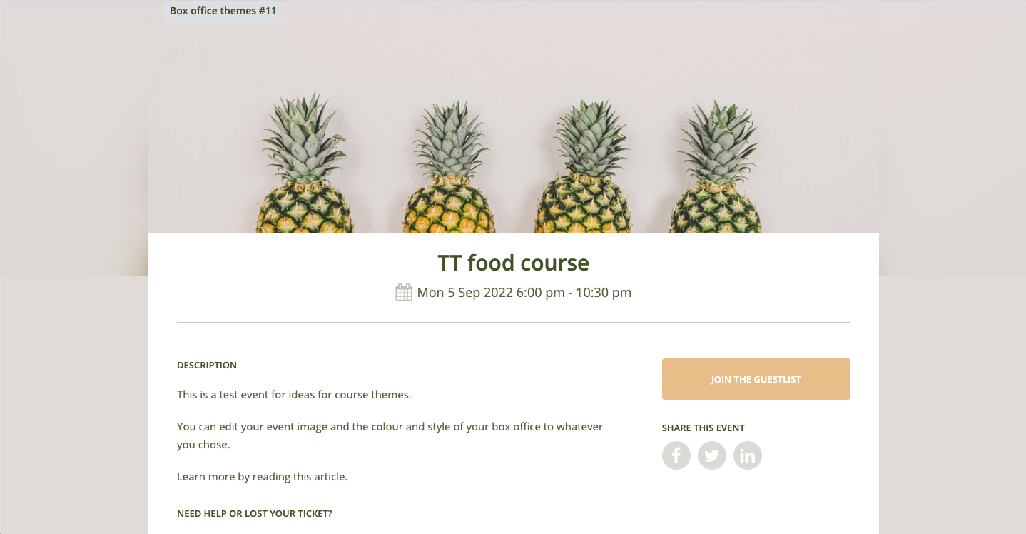 FOOD COURSE THEME