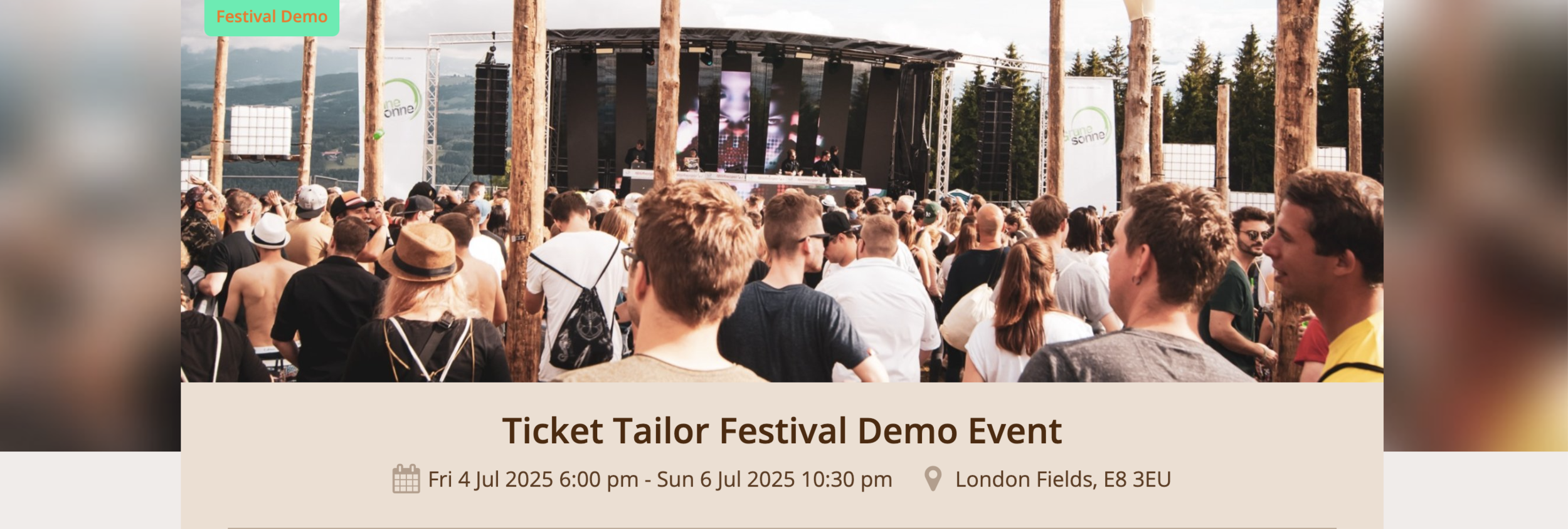 Sell tickets for a music festival