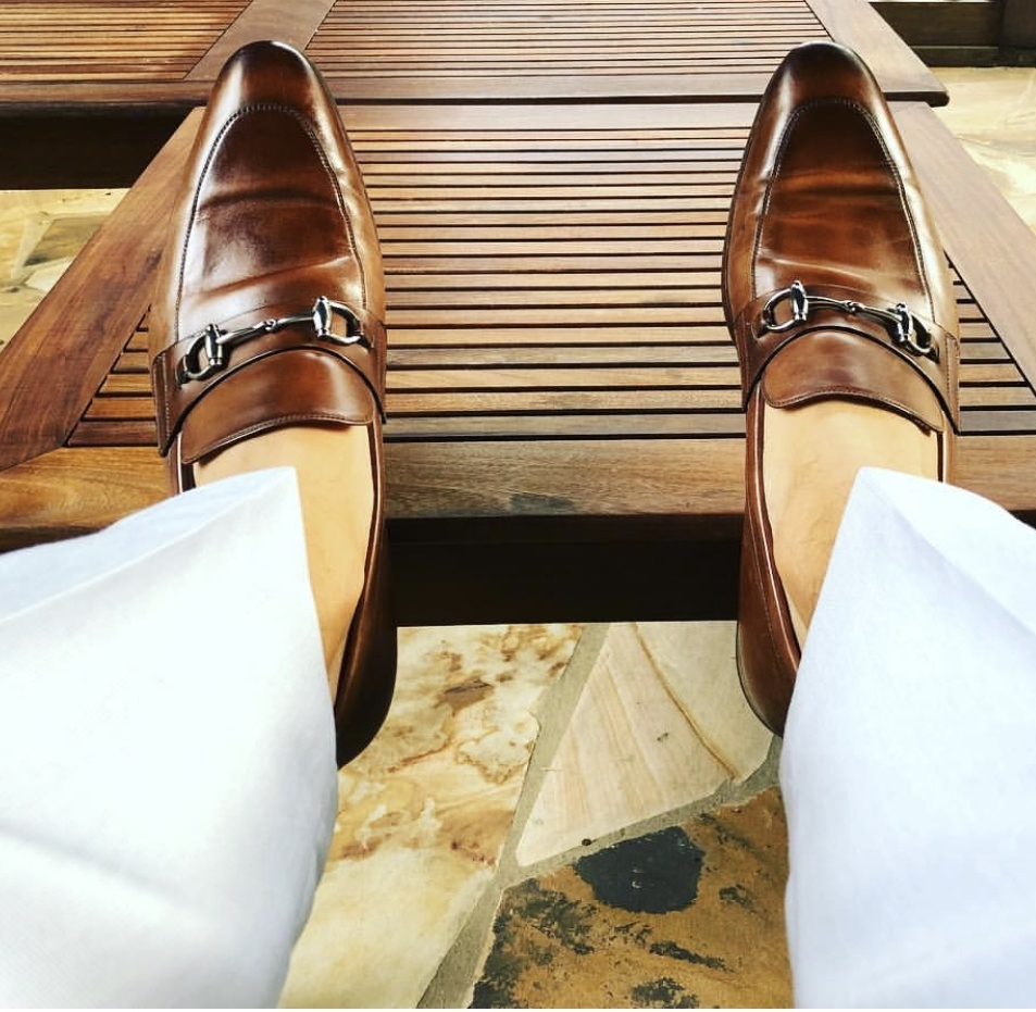 Like these brown Gucci slip-ons.