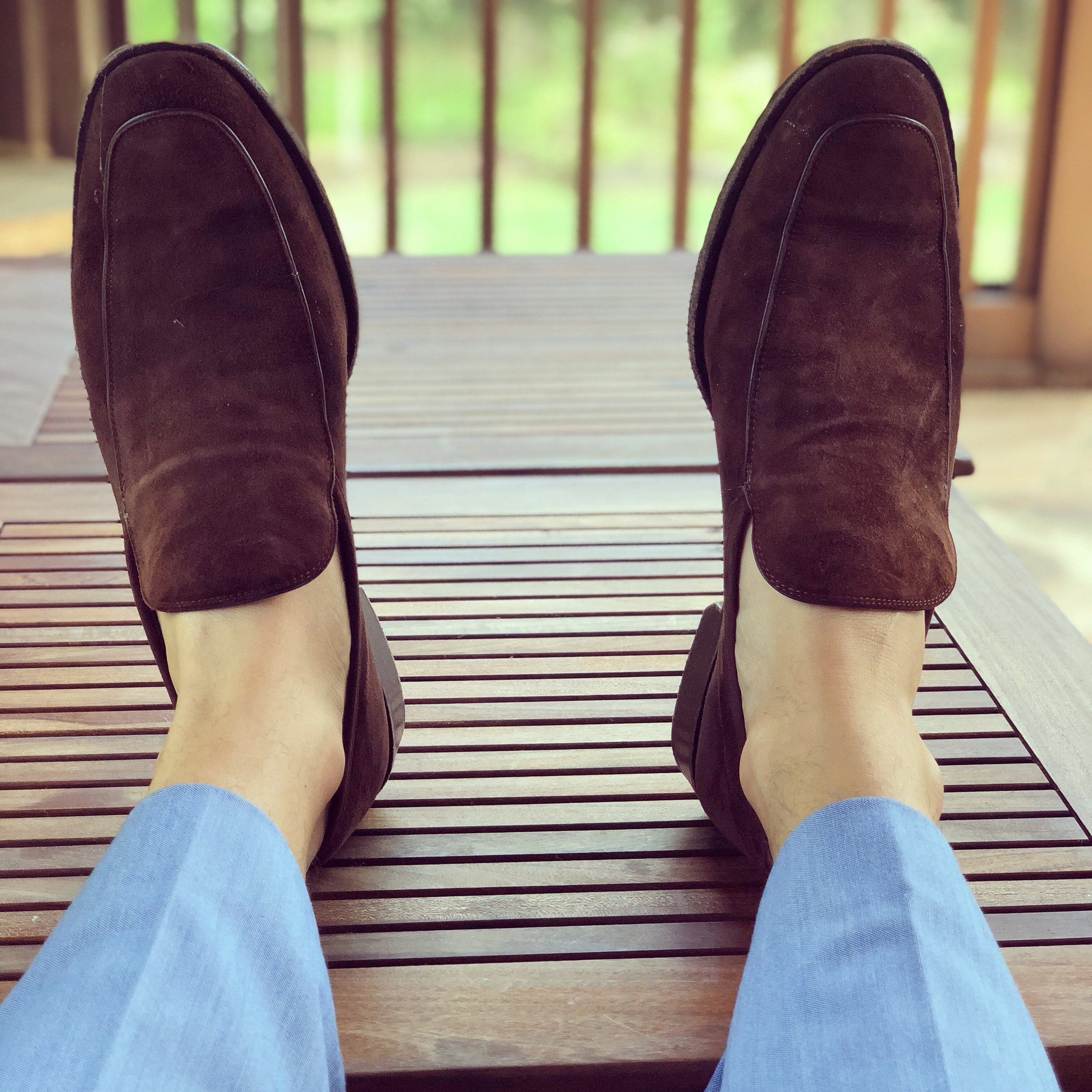 Like these brown suede loafers by Kennith Cole.