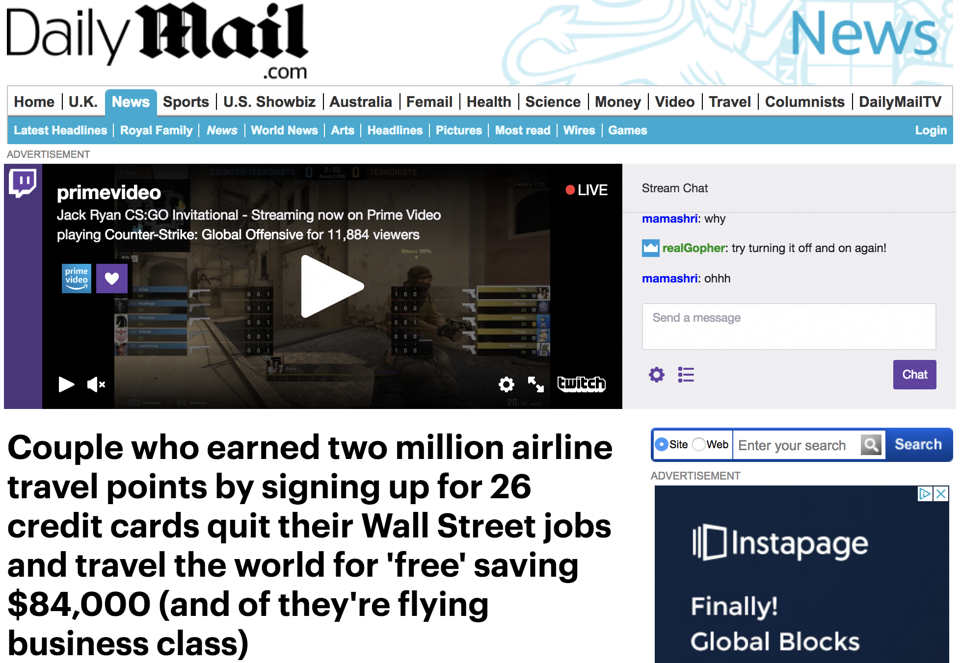 Daily Mail - Couple who earned 2 million airline travel points...