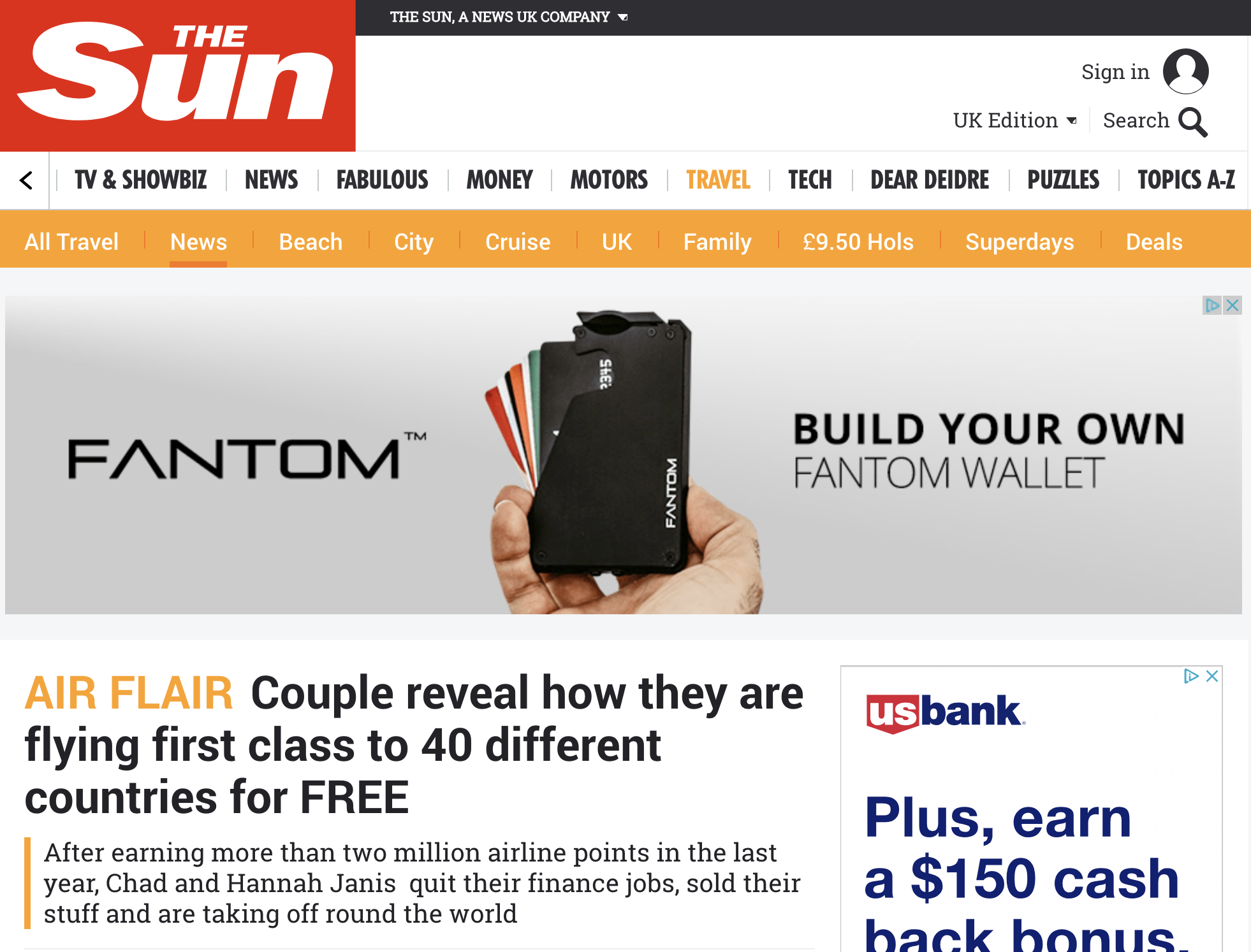 The Sun - Couple reveal how they are flying business class to 40 countries for FREE