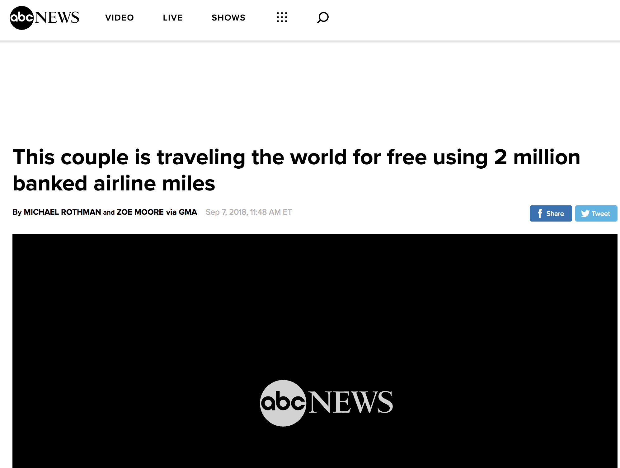 ABC NEWS - This couple is traveling the world for free using 2 million banked airline miles