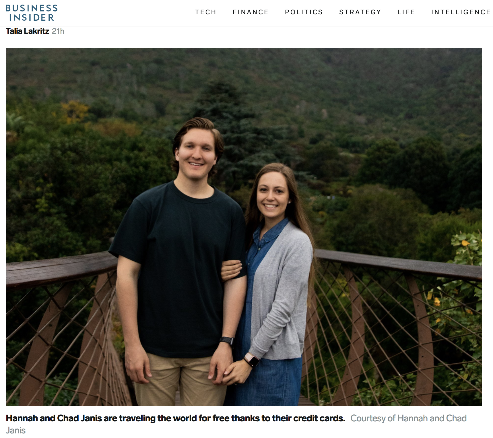 Business Insider - This couple is traveling the world for free