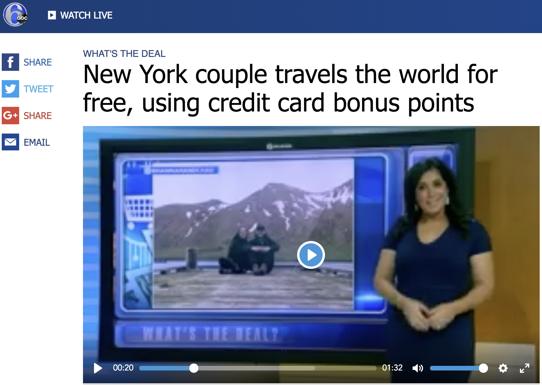 6abc TV - New York couple travels the world for free, using credit card bonus points