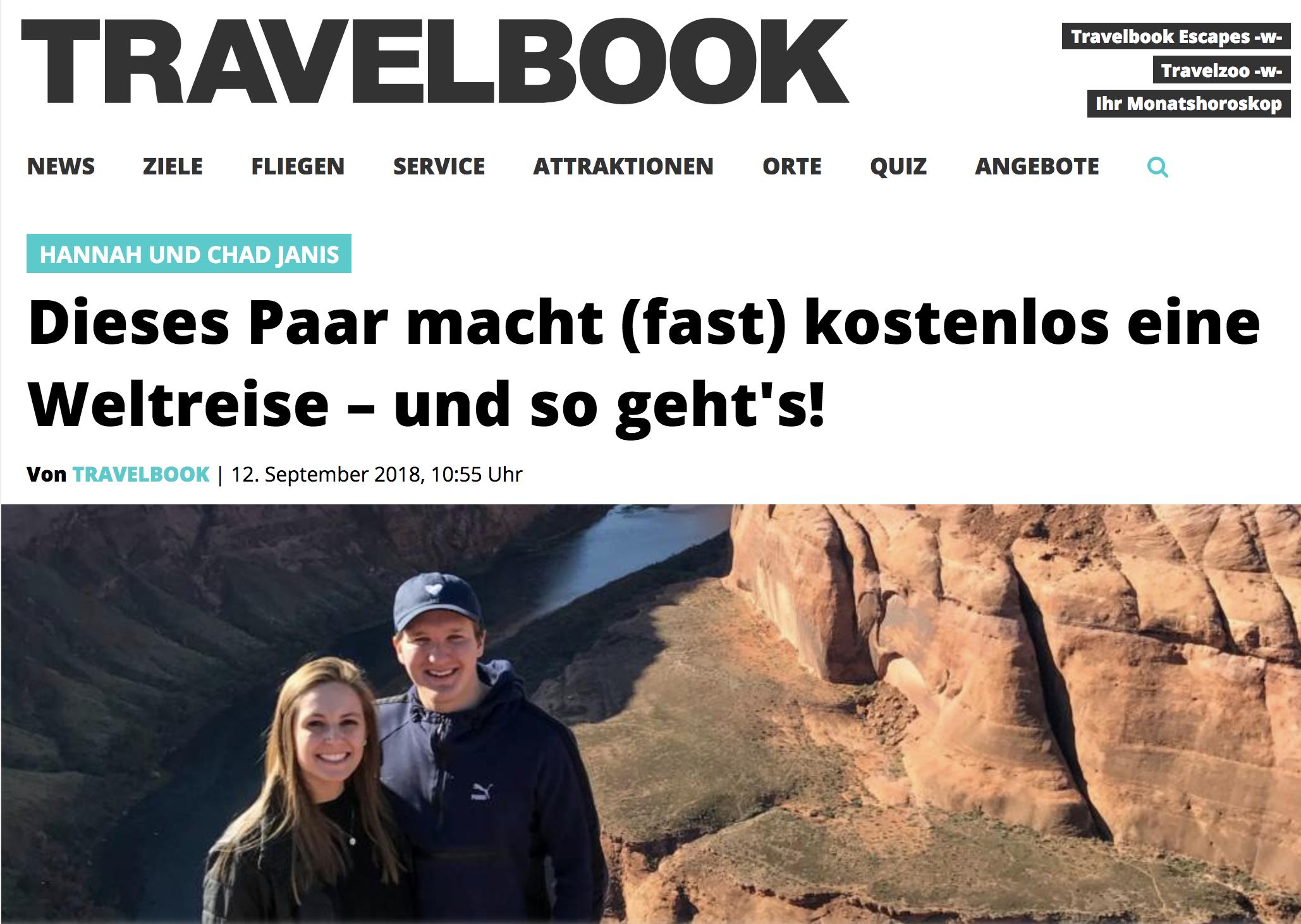 Travelbook.de - Dieses Paar macht (fast) kostenloss eine Weltreise - und so geht's!
