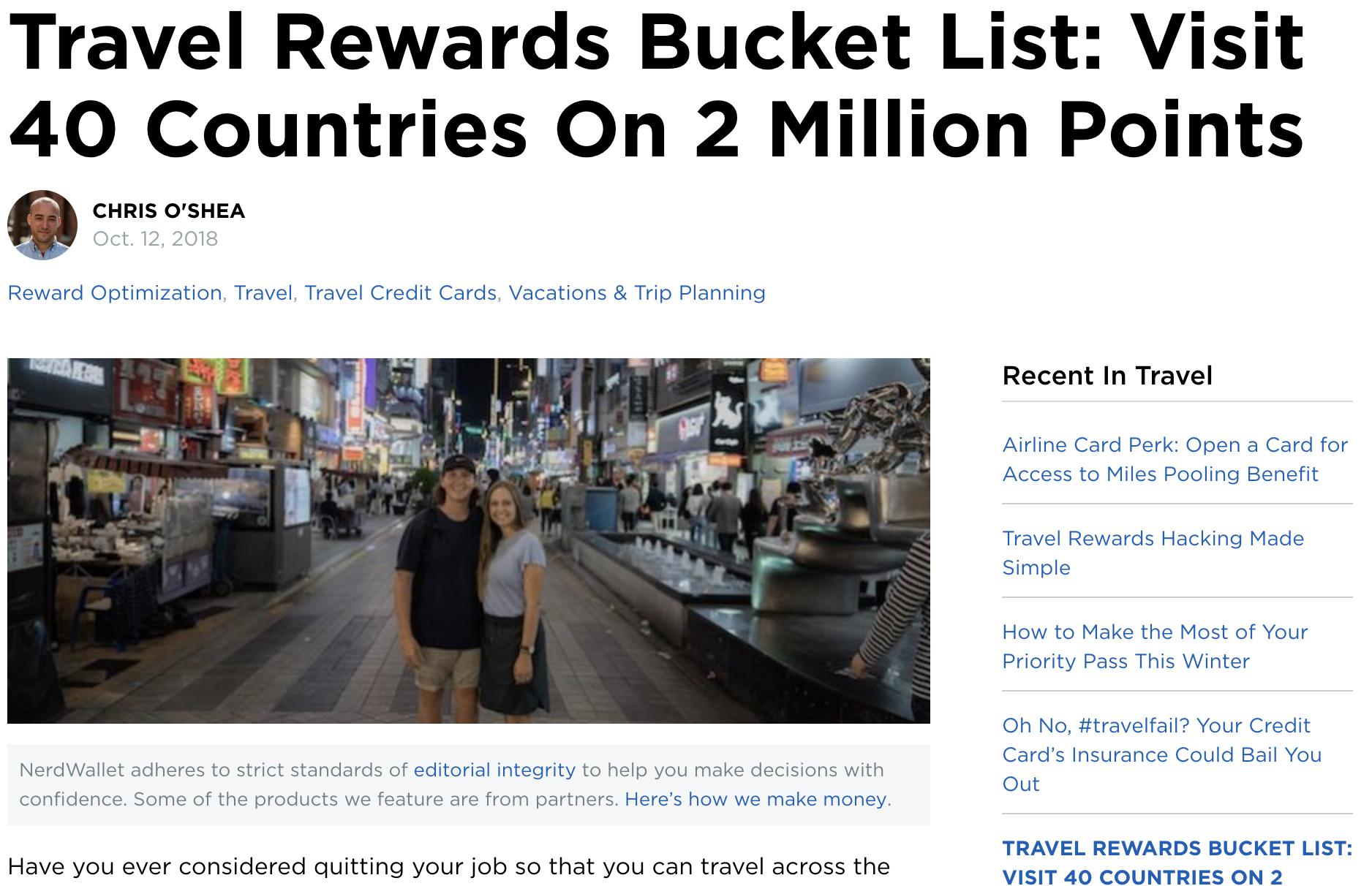 NerdWallet - Travel Rewards Bucket List: Visit 40 Countries on 2 Million Points