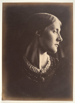 "JULIA MARGARET CAMERON    Mrs. Herbert Duckworth,  1867/1985   Photogravure from original albumen print 14 x 10.5 inches Edition of 300 produced as part of ""The Golden Age of British Photography"" portfolio [Aperture Foundation, with the Victoria and Albert Museum and the Philadelphia Museum of Art] Retail framed: $500 Courtesy Caryl Baron     Learn More"