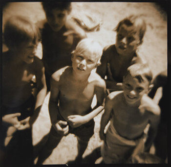 MEL CURTIS    Summer's Boys, Walden Pond , 1996   Toned gelatin silver print 8 x 8 inches Artist Proof, signed Retail framed: $500 © Mel Curtis     Learn More