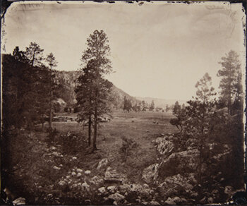 TIMOTHY O'SULLIVAN    Cooley's Park, Arizona,  1873/1981   Gold-toned albumen print with slipcased book Timothy O'Sullivan: American Frontiers [Aperture, 1981]  10 x 12 inches Edition of 100 with 20 artist proofs Retail Framed: $1550 Courtesy Caryl Baron     Learn More