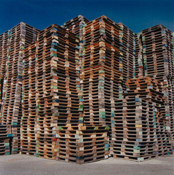 ARTHUR AUBRY    Pallets Along the Duwamish,  1996 C-print 19 x 19 inches Edition of 5 Retail framed: $1,500 © the estate of Arthur Aubry     Learn More
