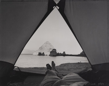 MARK KLETT    View from the tent, Pyramid Lake 7:15 am, Nevada,  2000 Gelatin silver print 16 x 20 inches Edition of 50, signed Retail framed: $2,500 © Mark Klett; courtesy G. Gibson Gallery     Learn More