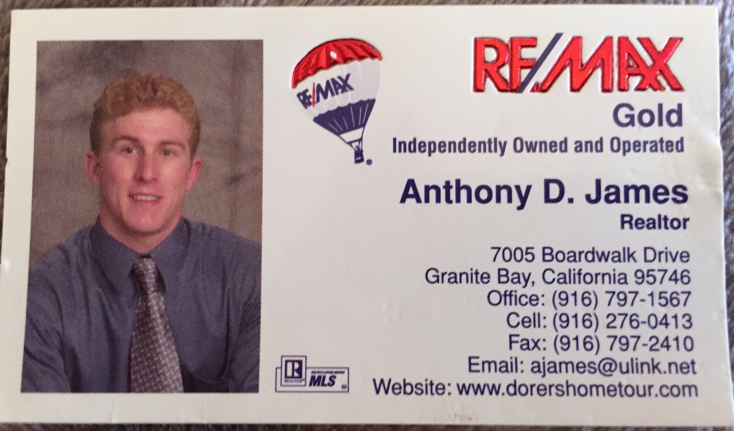Anthony James' first business card from 2002, with RE/MAX Gold.