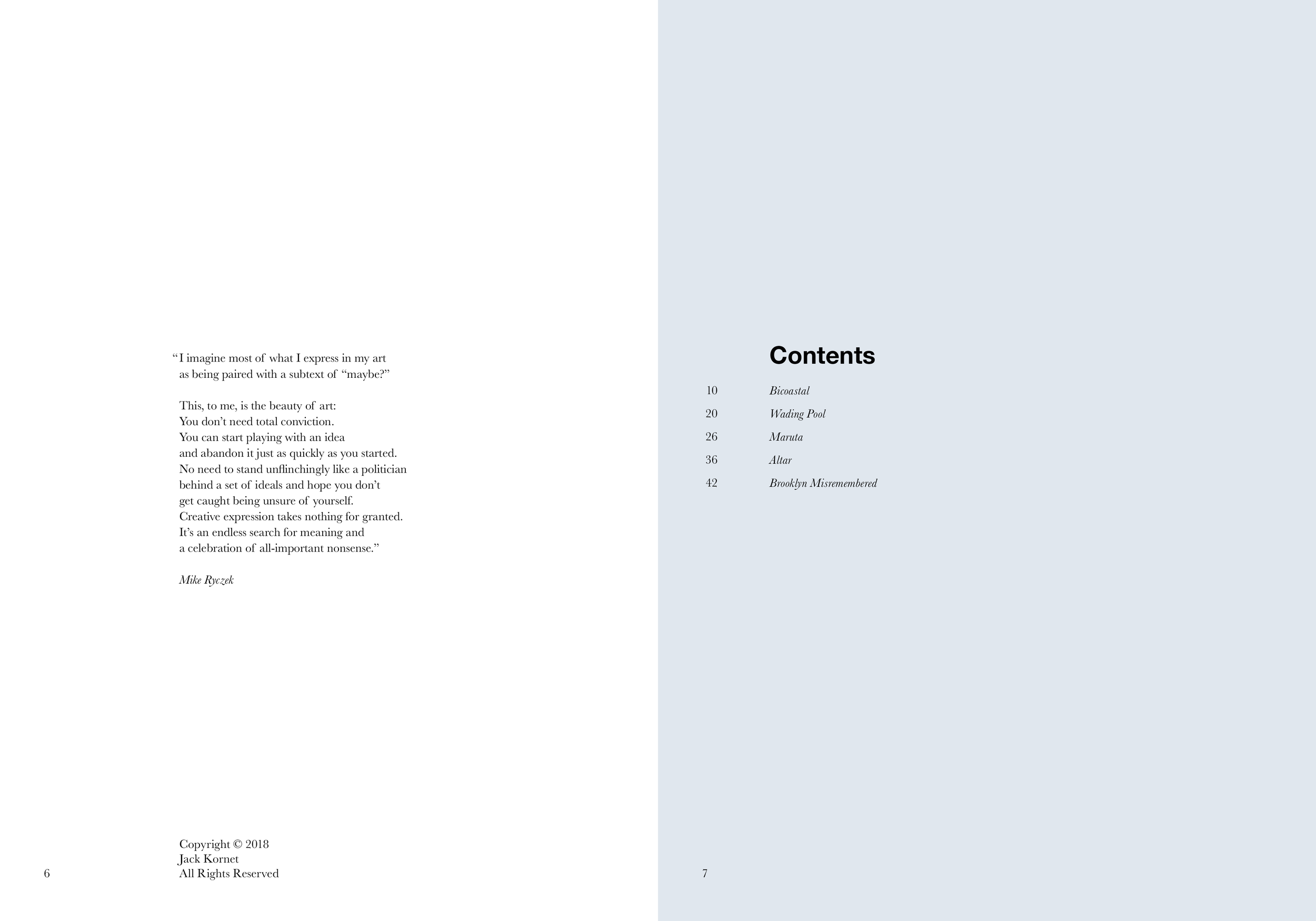 Quotation and table of contents