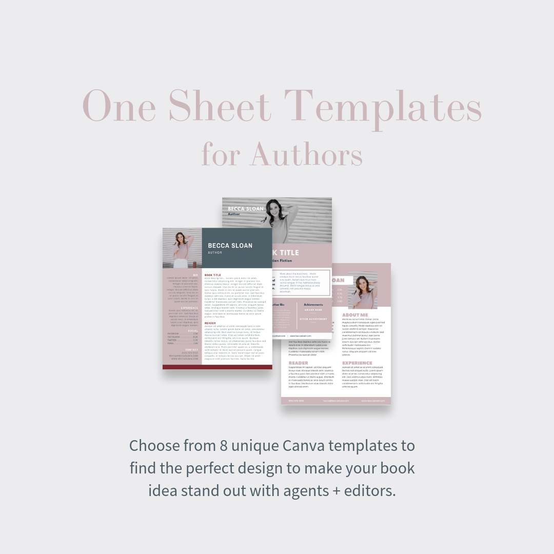 one sheet templates for authors