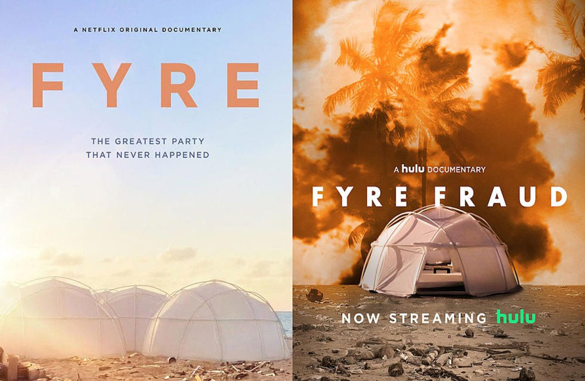Jump Into the Fyre and Burn Your Cash - Hulu Fyre Fraud and Netflix Fyre: The Greatest Party That Never Happened.