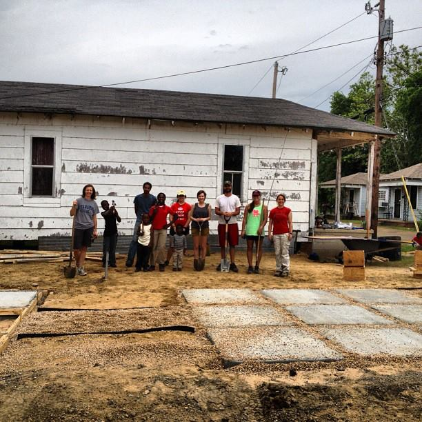 Photo Taylor Claussen. Taylor is in the middle, wearing a red shirt. Pocket park project in conjunction with the Carl Small Town Center.
