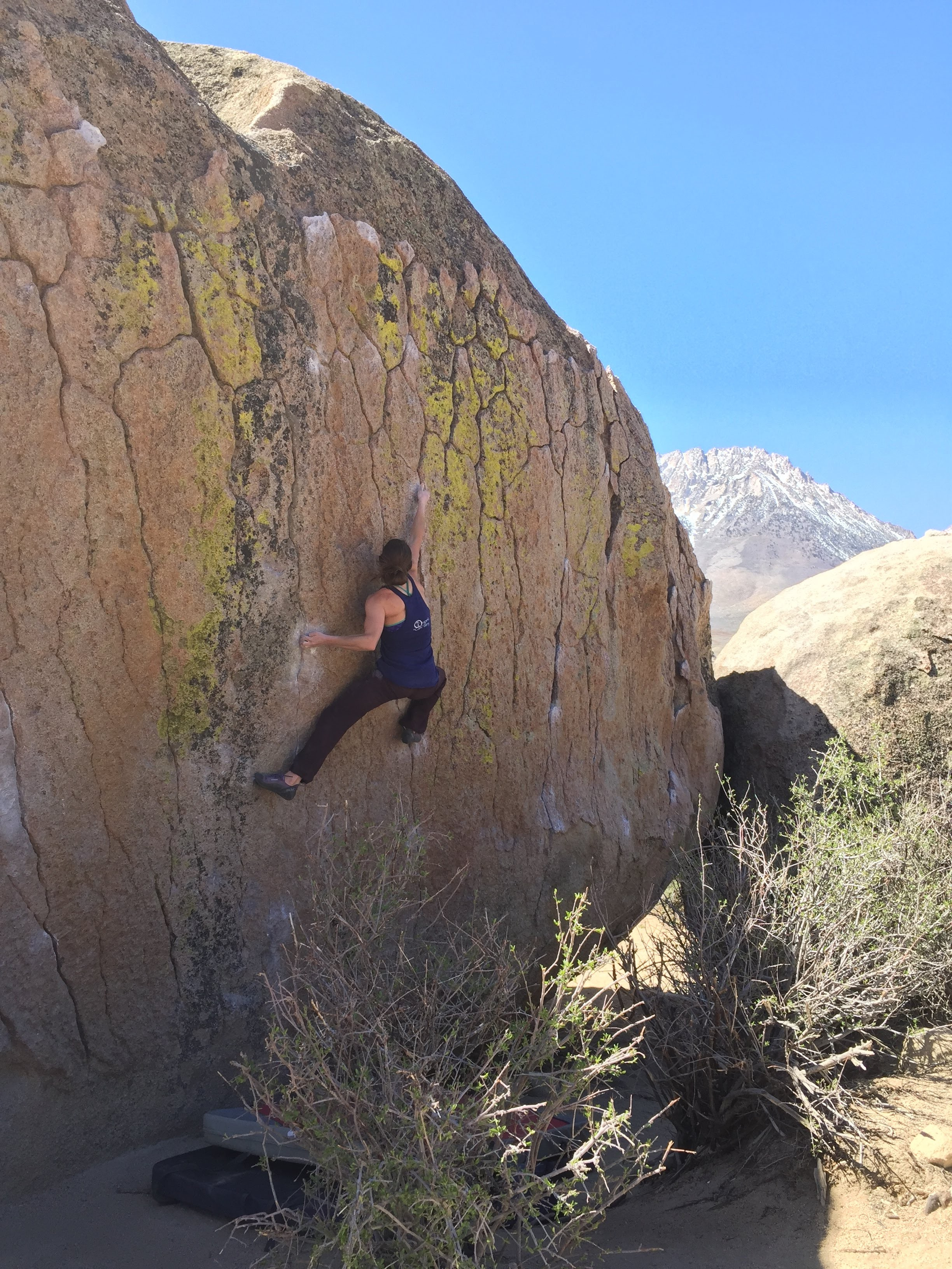 "Amanda Maze, ""Green Wall Center,"" v6, Bishop, California. Photo by  Michael Rosato ."