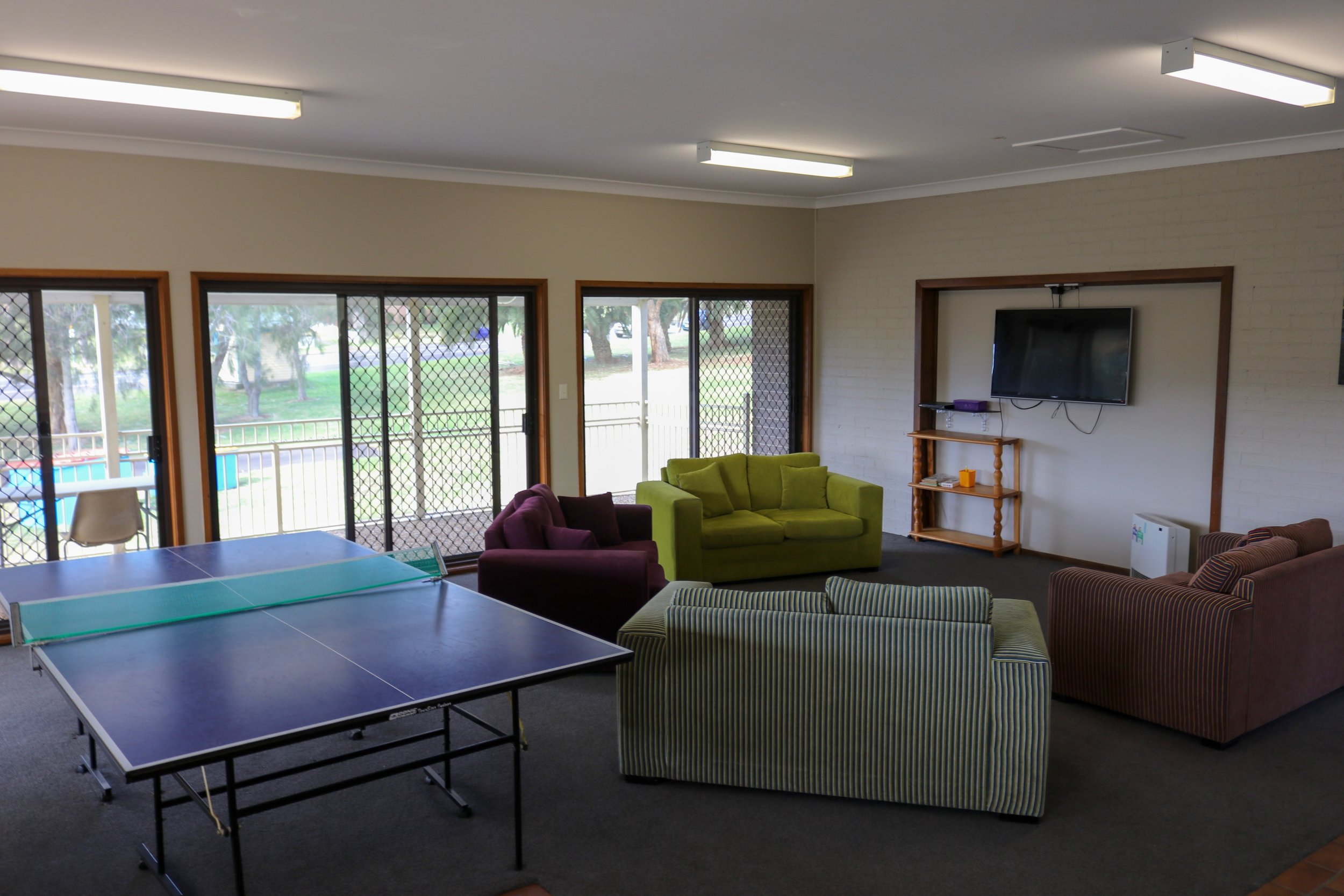 Ping pong table and TV