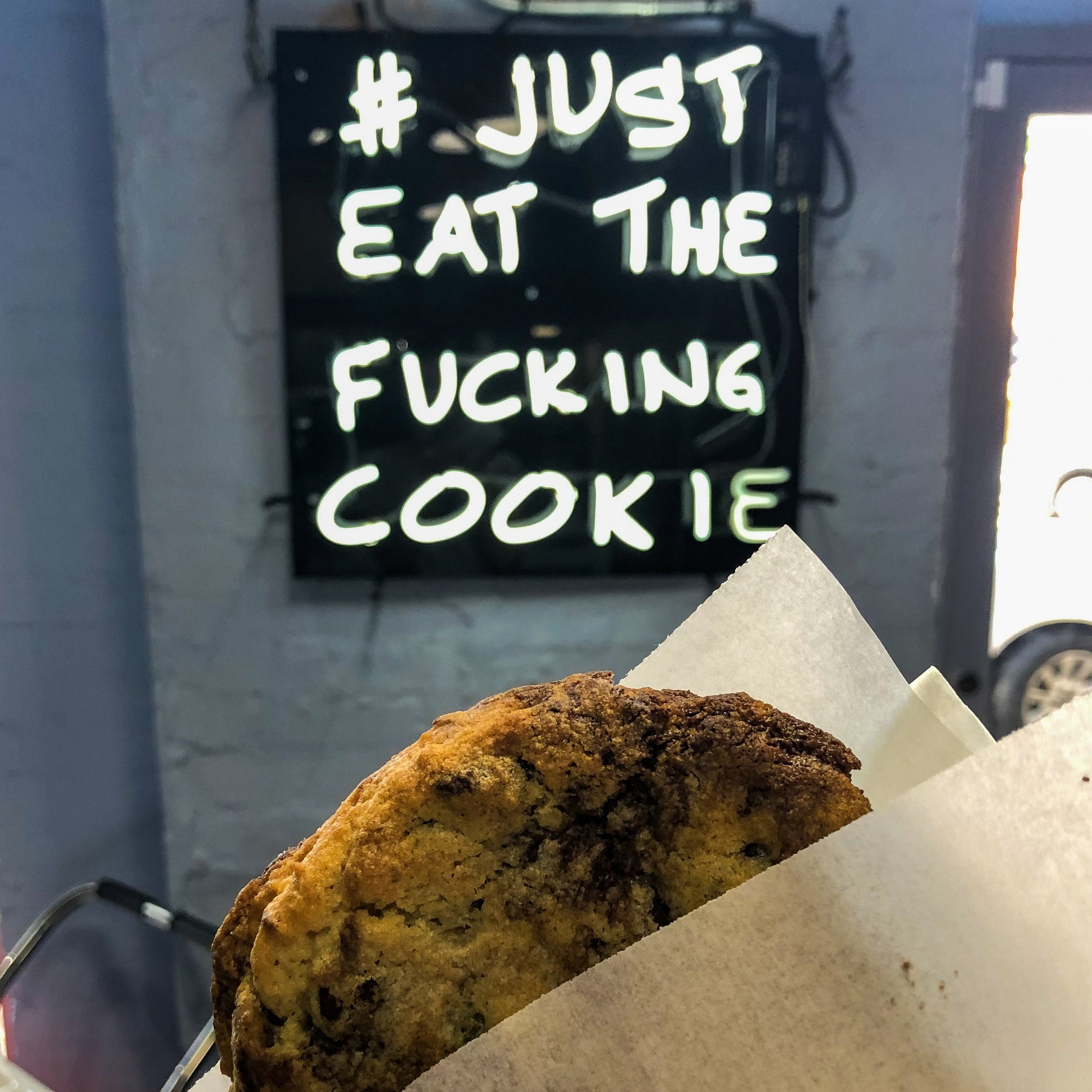 Cookie Shop - This Deep Ellum shop has just one rule: Eat The Fucking Cookie. They believe in it so much, they put it on their wall. We can't really argue, because these massive, gooey cookies are our salty love language. (2932 Main St.)
