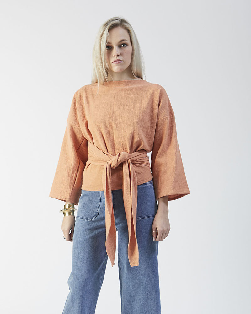 Commerce Goods & Supplies Taos Wrap Top ($220) - A versatile top is a must for this unpredictable Texas weather. Tie this ¾ sleeve top in the back for a form-fitting look or wrap the ties around the front and layer it underneath a blazer for some fun texture.