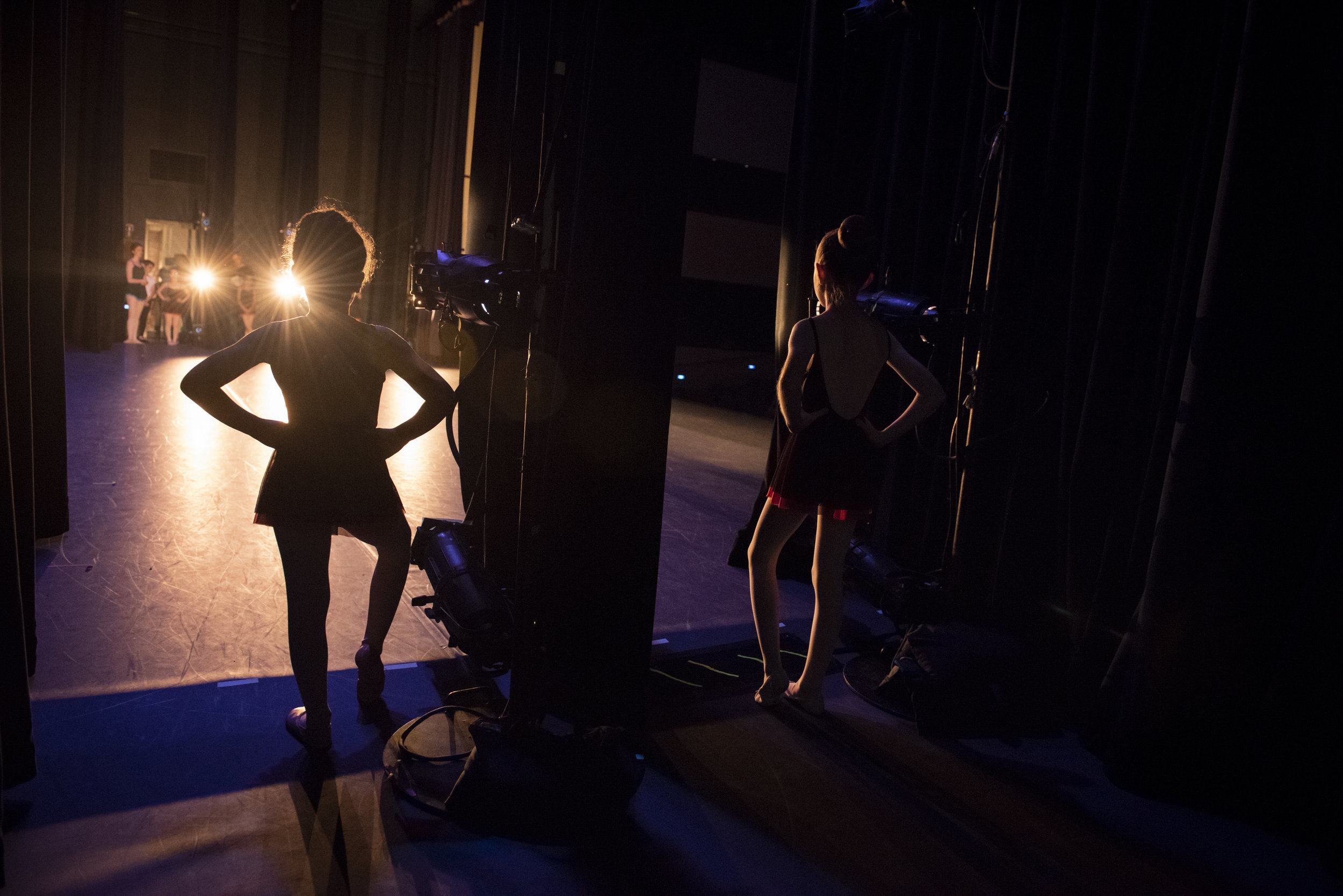 BBT Youth Division dancers  preparing to go onstage in Robert Dekkers'  Rhapsody,  photo by Natalia Perez