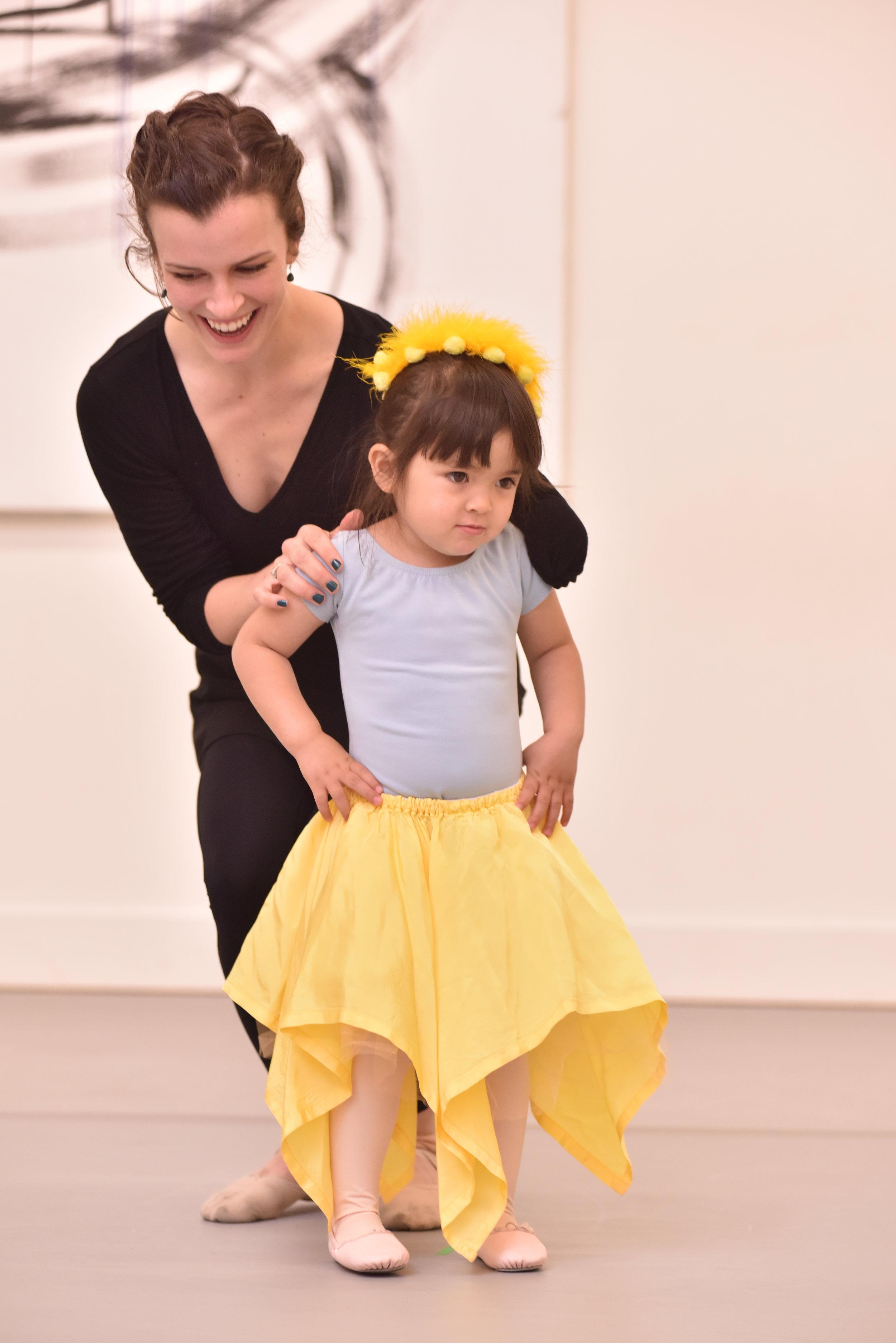 BBT Pre-Ballet Division dancer  with teacher Julie Crothers ,  photo by Natalia Perez
