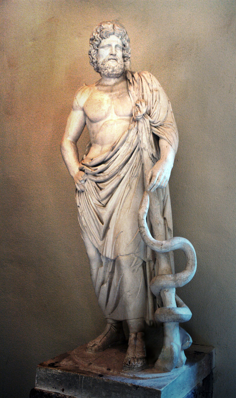 A statue of Asclepius with the Rod of Asclepius clearly visible.