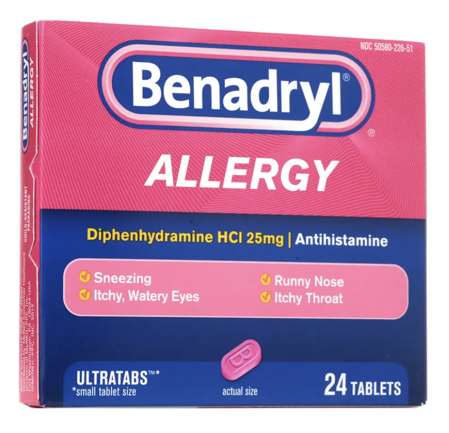 Benadryl and steroids labels for steroid vials