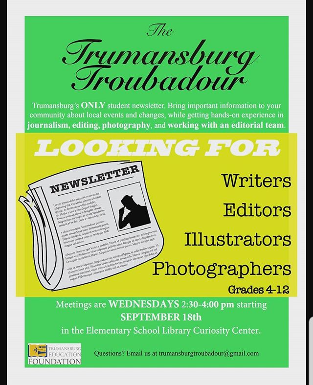 Calling all writers, illustrators, editors, and photographers for the Troubadour!