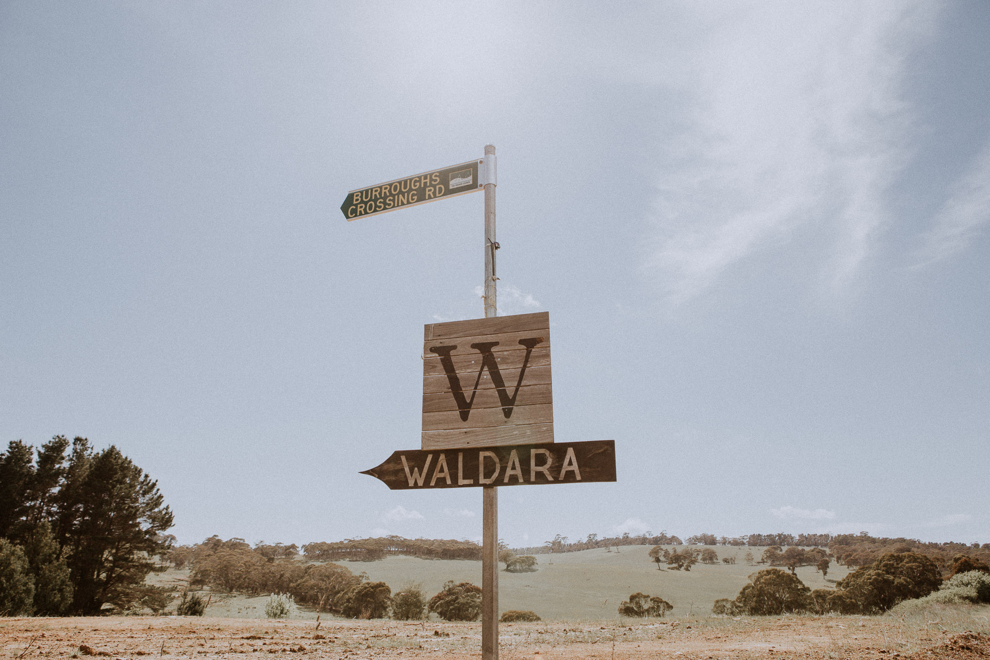 Sign for Waldara Farm Wedding Venue, Blue Mountains near Oberon