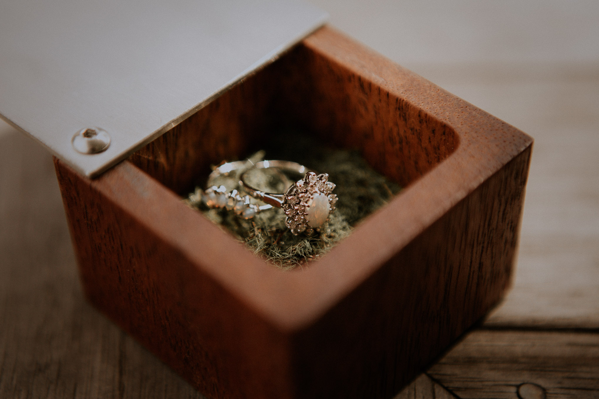 Bride's wedding ring in a custom timber box