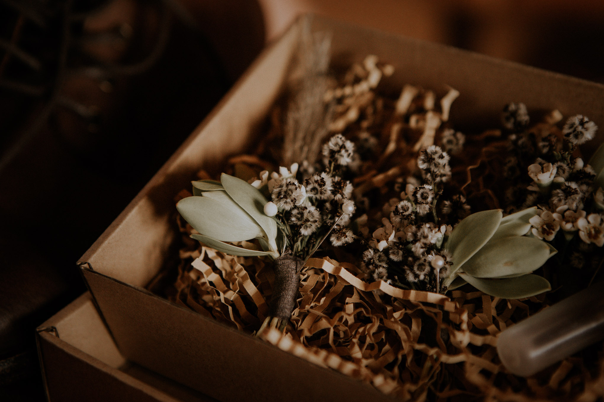Groom's florals in a handcrafted box