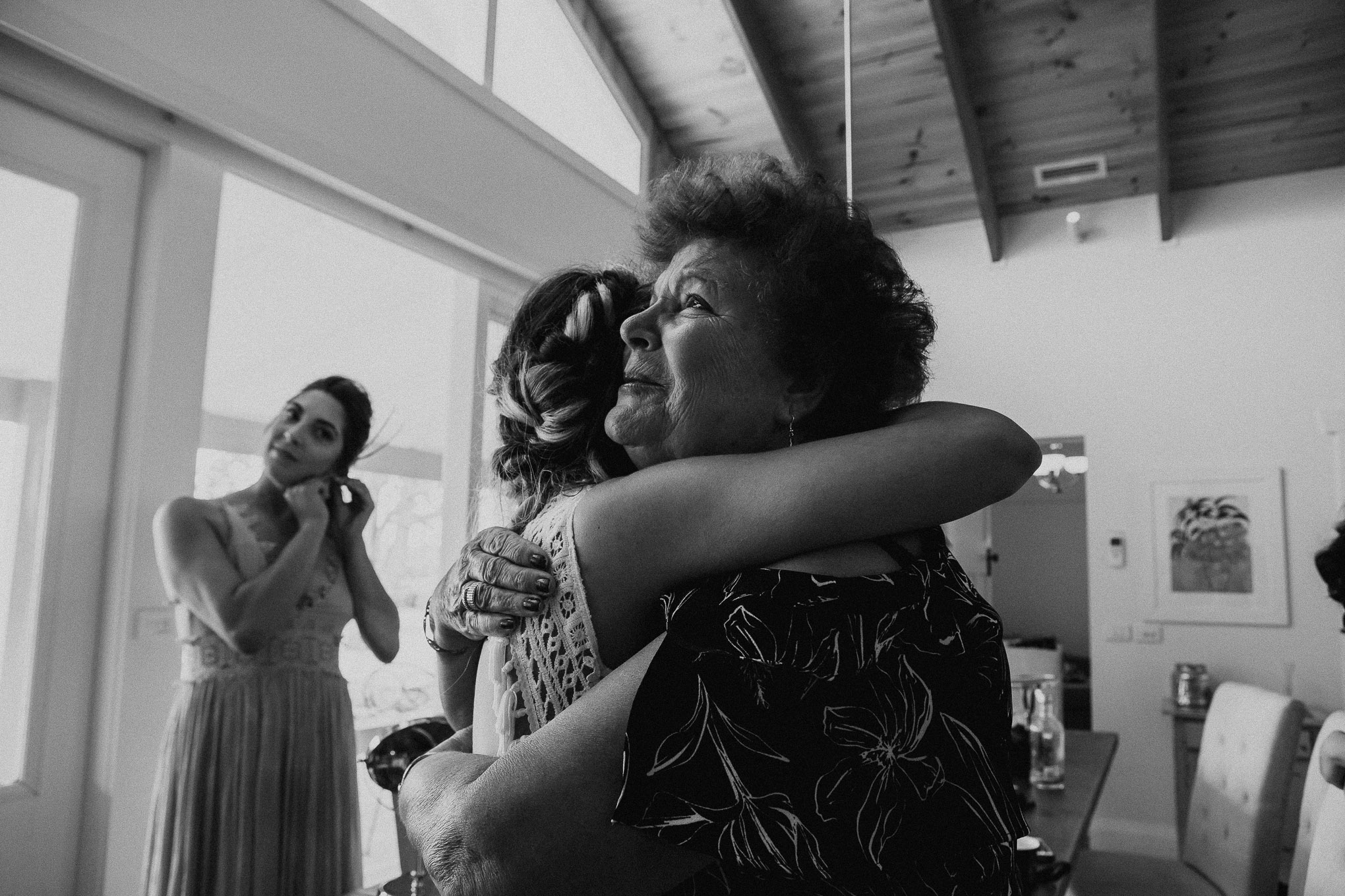 An emotional reunion between a bride and her grandmother on the morning of her wedding